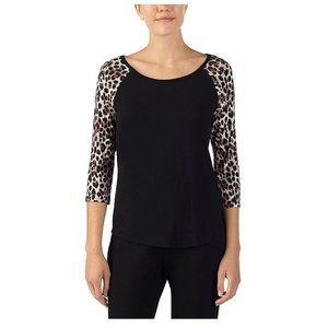 Betsey Johnson Brown Animal Print Pajama Top-XS